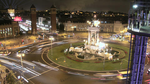 Fira de Barcelona Square Crowd at Night Footage