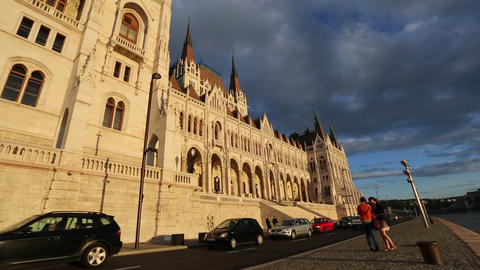 Storm Arising Over The Parliament In Budapest stock footage