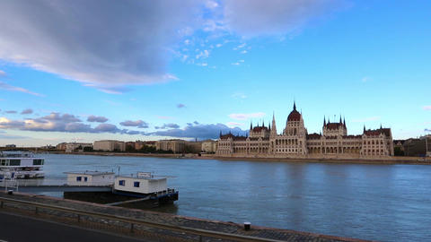 View At The Parliament Of Budapest Over The Danube stock footage