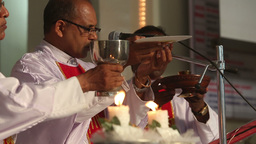 three priests held a wedding ceremony in the Catho Footage