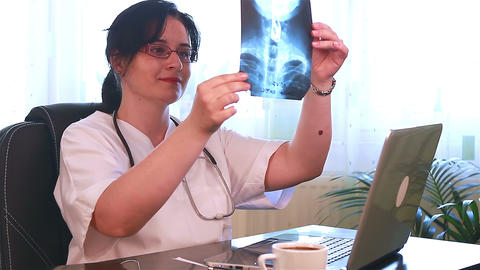 Doctor Examining X Ray Films stock footage
