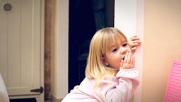 Christmas Eve little girl amazed Footage