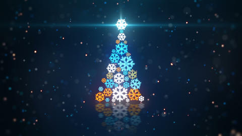 blue orange christmas tree shape of glowing snowfl Animation