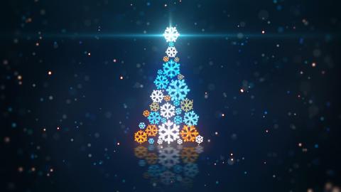 blue orange christmas tree shape of glowing snowfl Animation