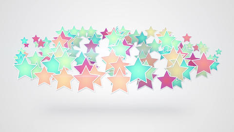 colorful stars on white background seamless loop Animation