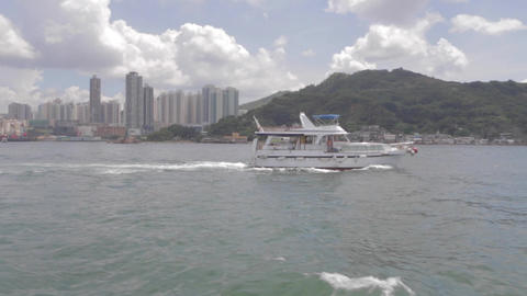 Side View Speed Boat On Hong Kong Ocean stock footage