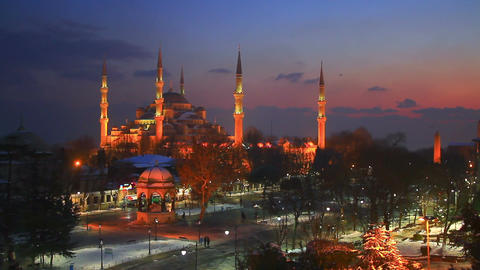 Blue Mosque in Winter Footage