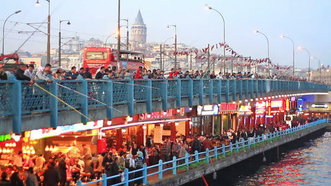 Galata Bridge by the Night Footage