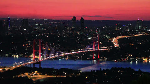 Istanbul Bosporus Bridge on sunset Footage