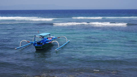 Lonely fishing boat Footage