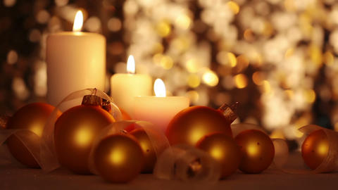 Christmas Candles And Balls. Changing Light stock footage