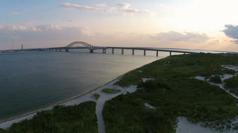 Aerial Long Island Bay, Sand And Bridge stock footage