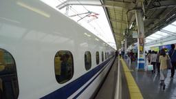 4k timelapse video of a Shinkansen train arriving Footage
