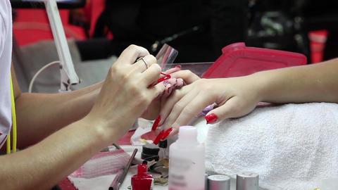Manicure Nail Polish stock footage