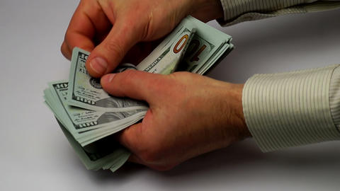 hands calculate new banknotes of dollars Footage