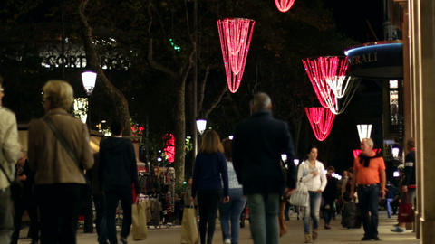 Barcelona Christmas Shopping At Night stock footage