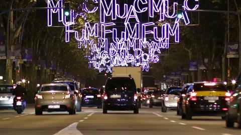 Barcelona Christmas Street Lights Decorations and Footage