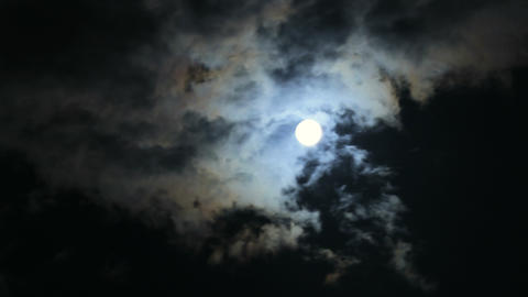 Scary Full Moon And Dark Clouds At Night 4k stock footage