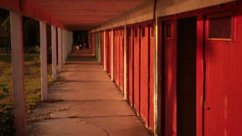 deserted locker room cabins on the lake Footage
