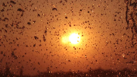 water droplets in the sunset Footage