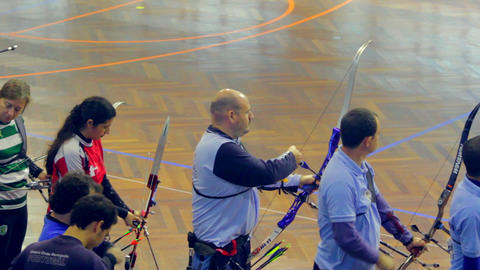 Archers Aiming in Competition Stock Video Footage