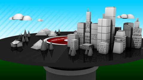 4k Rotation Of 3d Virtual Geometric City On CD Records Player,urban Fairy Tale stock footage