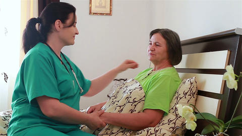 Senior Woman Talking With Her Home Caregiver stock footage