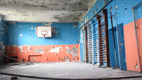 Old Sports Hall At School With A Basketball stock footage