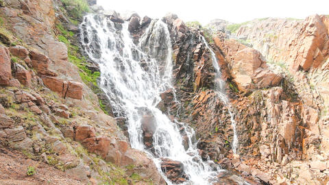 big northern beautiful waterfalls on the seashore Footage