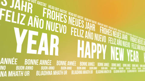 Happy New Year Scrolling Different Languages stock footage
