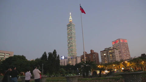 Sun Yat-sen Memorial Hall - Flag lowering ceremony Footage