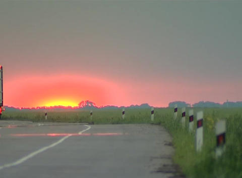 Sunrise road Stock Video Footage
