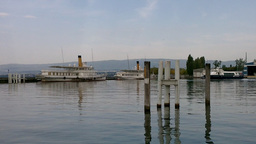Boat in Evian France 01 Stock Video Footage