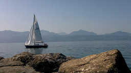 Lake Geneva Lac Leman Cutter and Boat Stock Video Footage