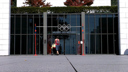 Lausanne Olympic Museum Switzerland 07 entrance Stock Video Footage