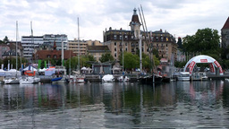 Lausanne Switzerland Port Ouchy 04 Stock Video Footage