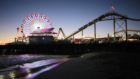 Santa Monica Pier at night Stock Video Footage