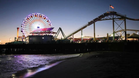Santa Monica Pier at night Footage
