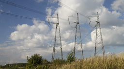 high voltage power pylons 2 Stock Video Footage
