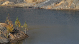 autumn birches and a lake between hills Stock Video Footage