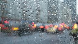 city traffic in rain Footage