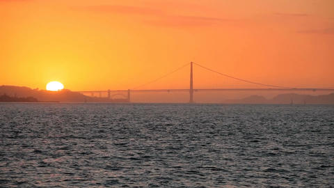 Sunset Golden Gate Bridge Stock Video Footage