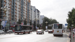 Beijing China Traffic 04 neutral high dynamic color Stock Video Footage