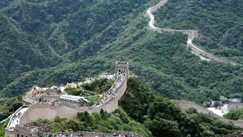 Great Wall in China 55 stylized filmlook Stock Video Footage