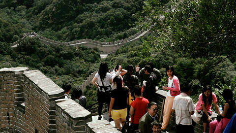 Great Wall in China 70 stylized filmlook Stock Video Footage