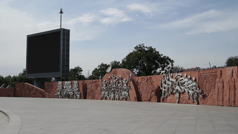 Olympic Games Location in Beijing China Bigscreen Square... Stock Video Footage