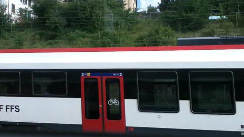 Through Train Window Switzerland 03 Stock Video Footage