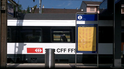 Through Train Window Switzerland 11 Nyon Station Stock Video Footage