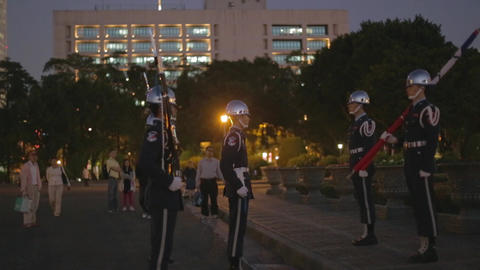 Flag lowering ceremony - soliders carry flag march Footage