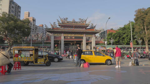 Dolly shot - clear sky front of Longshan Temple 2 Footage